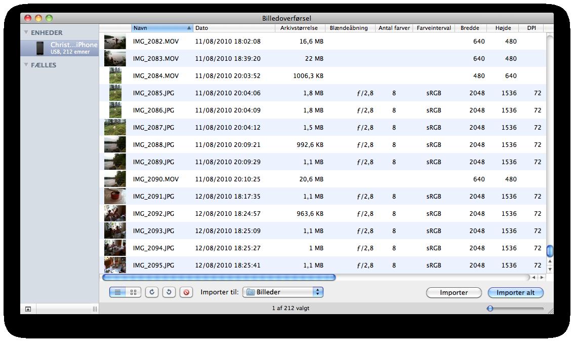 overfør billeder fra iphone til mac